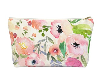 Watercolor Floral Zippered Pouch, Cosmetics/Pencil/Make-Up Organizer/Bag, Blue/Pink/Green Peony Flowers/Flower Print/Pattern/Design