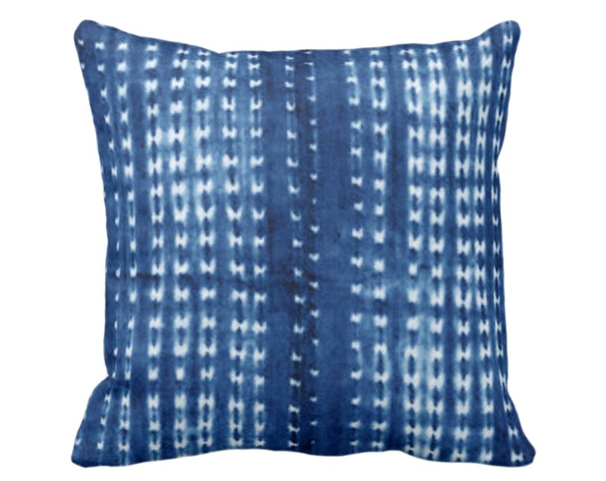 "Indigo Mud Cloth Printed Throw Pillow or Cover, Lines/Dots 16, 18, 20, 26"" Sq Pillows or Covers, Bright Blue Mudcloth/Stripes/Stripe/Dot"
