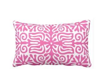 "OUTDOOR Folk Floral Throw Pillow or Cover, Bright Pink/White 14 x 20"" Lumbar Pillows or Covers, Mexican/Boho/Bohemian/Tribal Print/Pattern"