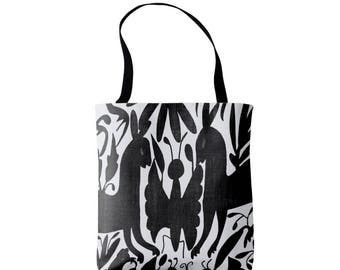 Otomi Print Market Tote, Black and White Print Bag, Mexican Folk Pattern