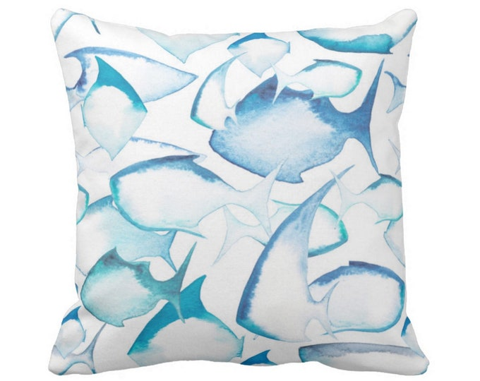 "Watercolor Fish Throw Pillow or Cover 16, 18, 20 or 26"" Sq Pillows or Covers, Bright Ocean Blue/White Modern/Nautical/Fish, Turquoise"