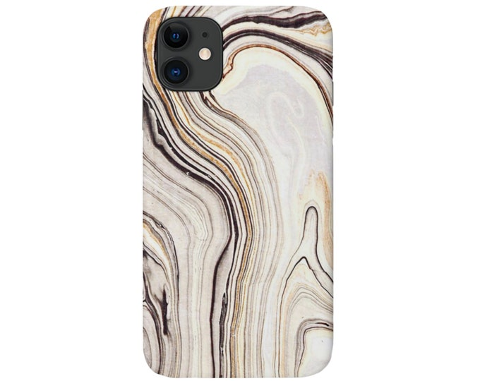 Marbled iPhone 11, XS, XR, X, 7/8, 6/6S, Pro/Max/P/Plus Snap Case or TOUGH Protective Cover, Taupe/Beige Marble/Abstract/Modern Print Galaxy