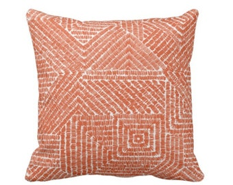 "OUTDOOR Tribal Geo Throw Pillow or Cover, Terracotta 14, 16, 18, 20, 26"" Sq Pillows/Covers, Orange Geometric/Tribal/Batik/Geo/Boho/Diamond"