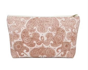 Batik Print Zippered Pouch, Baked Earth Tribal Design, Cosmetics/Pencil/Make-Up Organizer/Bag, Coral Boho/Hmong/Floral/Geometric/Geo Pattern