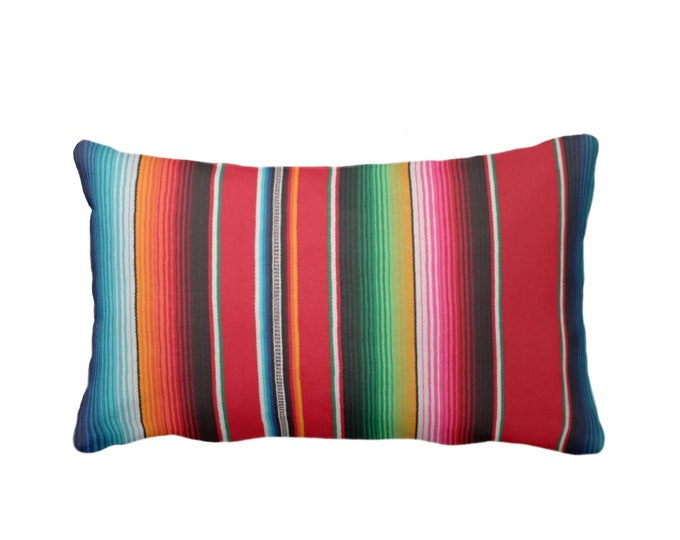 "OUTDOOR Serape Stripe Throw Pillow or Cover, Printed Mexican Blanket 14 x 20"" Lumbar Pillows or Covers, Rainbow/Colorful/Stripes/Striped"
