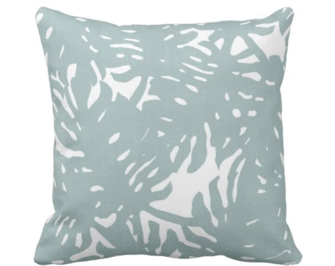 """Palm Silhouette Throw Pillow or Cover Silver Sage 14, 16, 18, 20, 26"""" Sq Pillows or Covers Dusty Blue/Green Tropical/Leaves Print"""