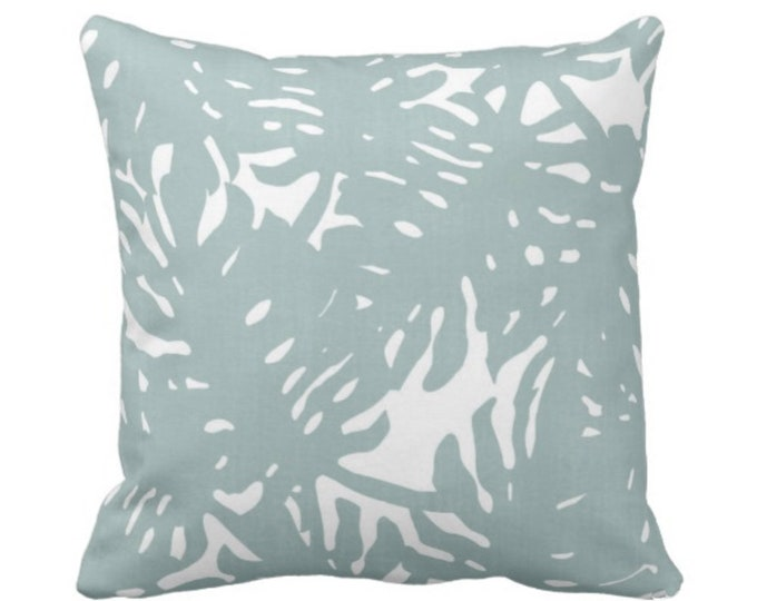 "OUTDOOR Palm Silhouette Throw Pillow or Cover Silver Sage 16, 18 or 20"" Sq Pillows or Covers Dusty Blue/Green Tropical/Leaves Print"