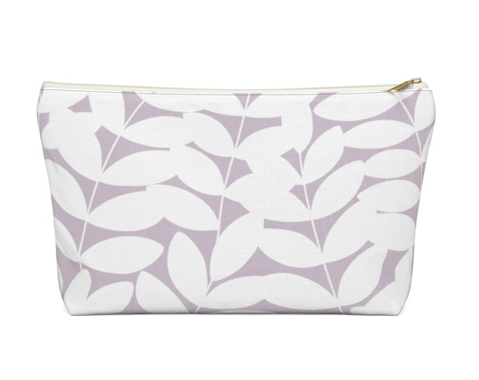 Stems Modern Botanical Print Zippered Pouch, Lilac/White Cosmetics/Pencil/Make-Up Organizer/Bag, Purple Nature/Floral/Minimal/Leaves Pattern