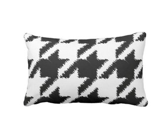 "OUTDOOR Houndstooth Printed Throw Pillow or Cover, Black & White 14 x 20"" Lumbar Pillows or Covers, Modern Large Scale Plaid/Check Print"