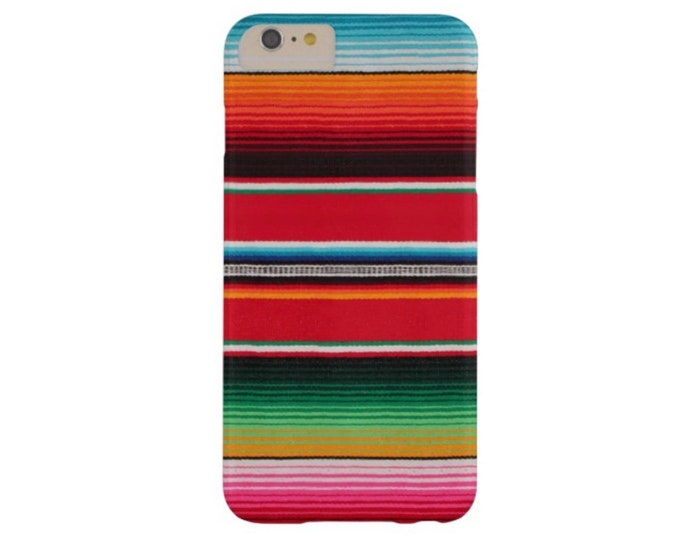 Serape Stripe iPhone XS, Max, XR, X, 7/8, 7/8 P, 6/6S, 6 Plus Snap Case or Tough Protective Cover, Fun Bright Colorful Striped Mexican Print