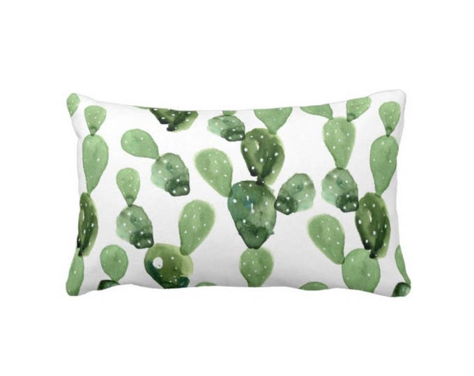 "Watercolor Cactus Throw Pillow or Cover, Green & White 14 x 20"" Lumbar Pillows or Covers, Succulent/Southwest/Succulents, Olive/Sage"