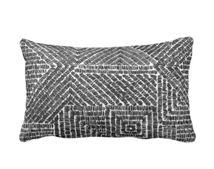 "OUTDOOR Tribal Geo Throw Pillow or Cover, Black 1& White 14 x 20"" Lumbar Pillows/Covers, Scratch Geometric/Batik/Geo/Diamond Pattern/Print"