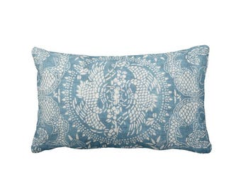 "OUTDOOR Dragon Batik Printed Throw Pillow or Cover, Indigo 14 x 20"" Lumbar Pillows or Covers, Blue Vintage Chinese Miao Tribal Print"