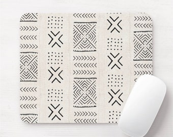 Mud Cloth Diamonds Print Mouse Pad/Mousepad, Off-White & Black Tribal African Pattern, Vintage Boho Modern Geometric/Geo/X/Lines Design