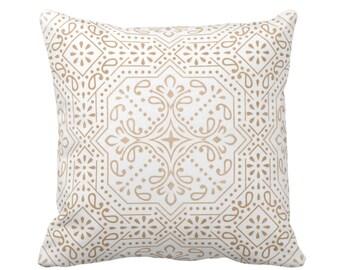 "OUTDOOR Tile Print Throw Pillow or Cover, Sand 16, 18 or 20"" Sq Pillows or Covers, Light Beige/Flax Geometric/Batik/Trellis/Boho/Lattice"