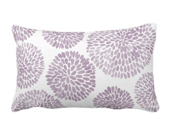 """OUTDOOR Watercolor Chrysanthemum Throw Pillow or Cover Dusty Purple/White 14 x 20"""" Lumbar Pillows/Covers Abstract/Modern/Floral/Flower Print"""