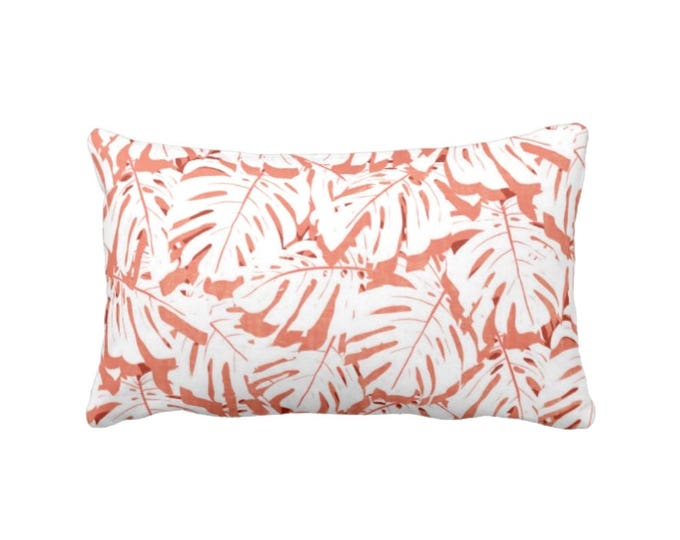"""OUTDOOR Palm Leaf Print Throw Pillow or Cover, Coral/White 14 x 20"""" Lumbar Pillows or Covers, Pink/Orange/Red Modern Tropical/Jungalo"""