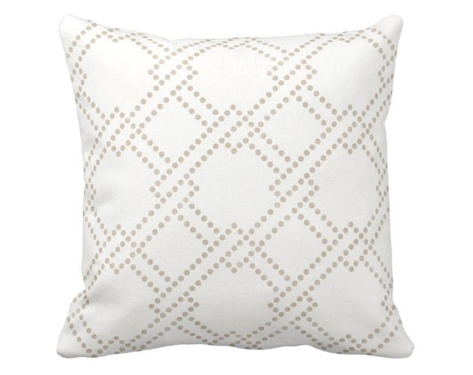 """Linked Squares Throw Pillow or Cover, Beige/White 16, 18, 20, 26"""" Sq Pillows or Covers, Geo/Geometric/Trellis/Lattice Print/Pattern"""
