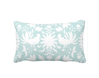 "OUTDOOR Otomi Throw Pillow or Cover, Sea Glass/White 14 x 20"" Lumbar Pillows/Covers, Blue/Green Mexican/Boho/Floral Print/Pattern"