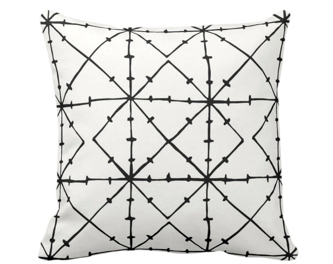 "Tribal Geometric Throw Pillow or Cover, Black/Off-White Print 16, 18, 20 or 26"" Square Pillows or Covers, Geo/Lines/Triangles/Modern/Diamond"