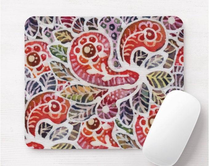 Colorful Batik Print Mouse Pad/Mousepad, Red/Orange/Pink/Green/Purple/Blue Off-White Boho/Hill Tribe/Indonesian/Jungalo/Tribal Vintage