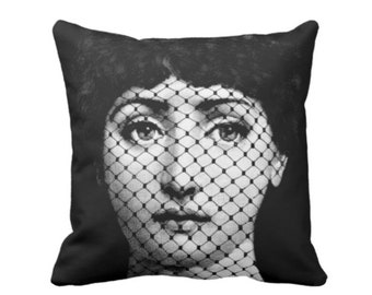"Fornasetti Face, Fishnet Throw Pillow or Cover, Black/White 16, 18, 20 or 26"" Sq Pillows or Covers, Modern/Art/Lace/Print/Pattern"