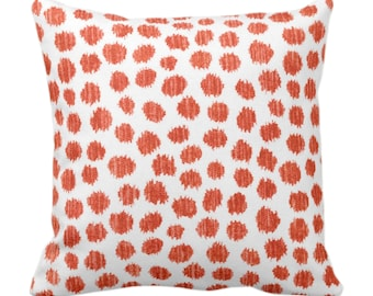 """Scratchy Dots Throw Pillow/Cover, Rust/White 14, 16, 18, 20, 26"""" Sq Pillows/Covers, Dark Orange Scribble/Dots/Spots/Dotted/Geo Print/Pattern"""
