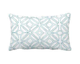 "OUTDOOR Tribal Trellis Throw Pillow or Cover, Teal/White 14 x 20"" Lumbar Pillows/Covers, Blue Geo/Geometric/Diamond/Triangles Print/Pattern"