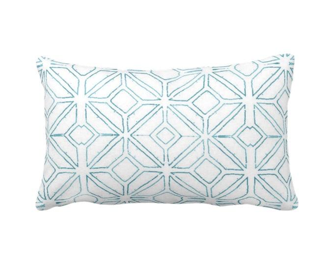 "OUTDOOR Tribal Trellis Throw Pillow or Cover, Teal/White 14 x 20"" Lumbar Pillows/Covers, Blue Geo/Geometric/Diamond/Triangles Print/Pattern"
