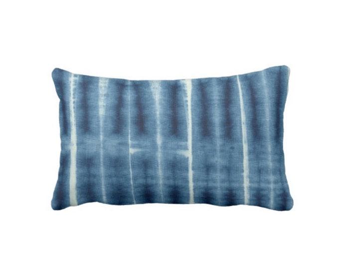 "OUTDOOR - READY 2 SHIP Indigo Mud Cloth Circles Print Throw Pillow, 14 x 20"" Lumbar Pillows, Bright Blue Mudcloth/Tribal/Geo/Boho"