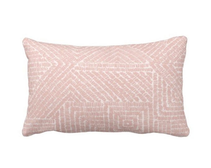 "READY 2 SHIP Tribal Geo Throw Pillow/Cover, Dusty Rose 14 x 20"" Lumbar Pillows/Covers, Blush Pink Geometric/Batik/Boho/Diamond Pattern/Print"