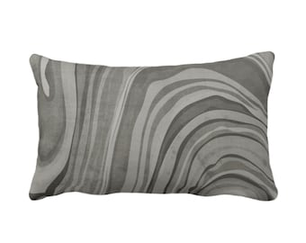 "Marbled Throw Pillow or Cover, Shale 14 x 20"" Lumbar Pillows or Covers, Dark Gray/Grey/Taupe Abstract/Wavy/Marble Painted Art Print/Pattern"