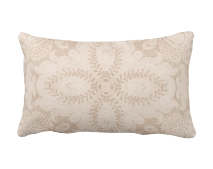 "OUTDOOR Nouveau Damask Throw Pillow/Cover, Almond 14 x 20"" Lumbar/Oblong Pillows/Covers Beige/Sand/Cream, Floral/Batik/Boho/Tribal Pattern"