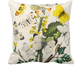 """OUTDOOR Vintage Butterflies Throw Pillow/Cover, 14, 16, 18, 20 or 26"""" Sq Pillows/Covers, Colorful Yellow/White/Green Butterfly Floral Print"""