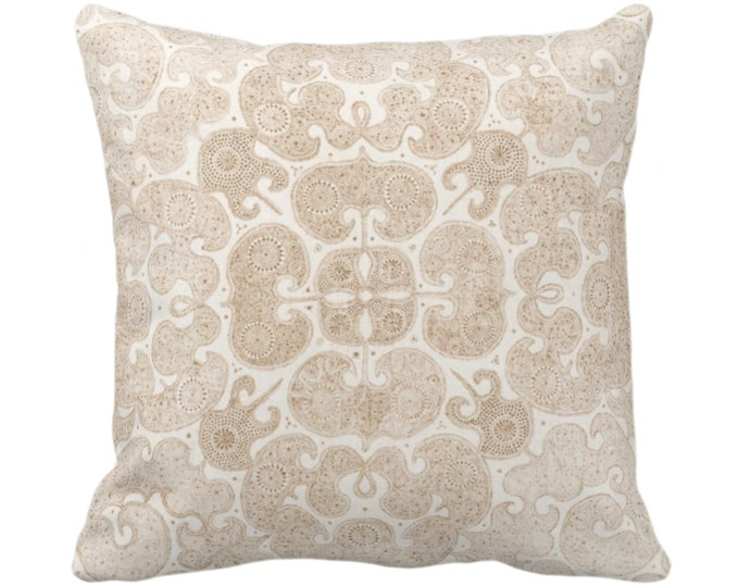 "Batik Print Throw Pillow or Cover, Beige/Off-White 16, 18, 20, 26"" Sq Pillows or Covers, Tan/Cream Floral/Geo/Boho/Tribal/Hmong/Design"