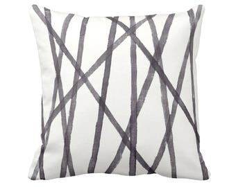 """Hand Painted Lines Throw Pillow or Cover, Charcoal/White 14, 16, 18, 20 or 26"""" Sq Pillows or Covers, Print, Channels/Stripes Black"""