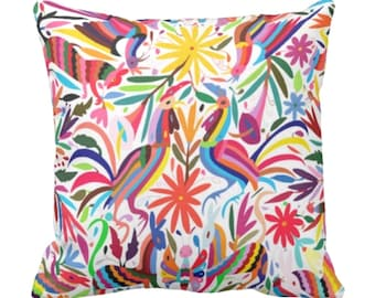 "OUTDOOR READY 2 SHIP Colorful Reds Otomi Throw Pillow Cover, Printed 18"" Sq Pillow Covers, Floral/Flowers/Mexican/Fun/Boho Print"