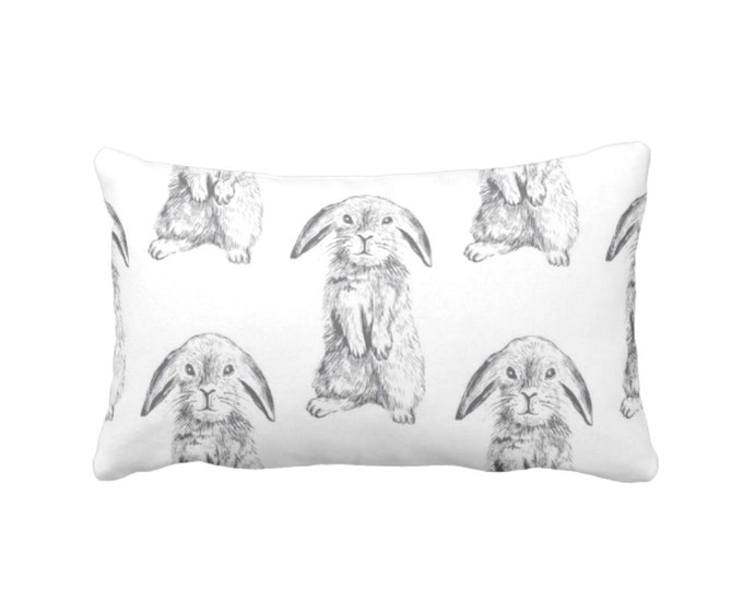"Bunny Print Throw Pillow or Cover, Gray/White 14 x 20"" Lumbar Pillows/Covers, Modern/Gender Neutral Nursery Animals/Rabbit/Sweet/Cute/Boho"