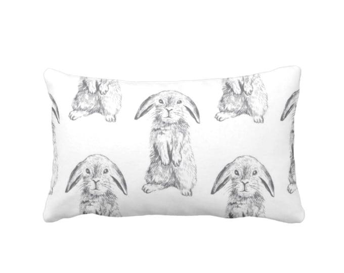 "Bunny Print Throw Pillow or Cover, Gray/White 14 x 20"" Lumbar Pillows/Covers, Modern/Gender Neutral Nursery Animals/Rabbit/Sweet/Cute/Boho"