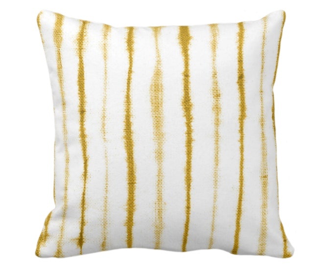 "SALE - READY 2 SHIP Uneven Lines Throw Pillow/Cover, Mustard/White Print 20"" Sq Pillows/Covers, Shibori/Stripe/Striped Pattern, Deep Yellow"