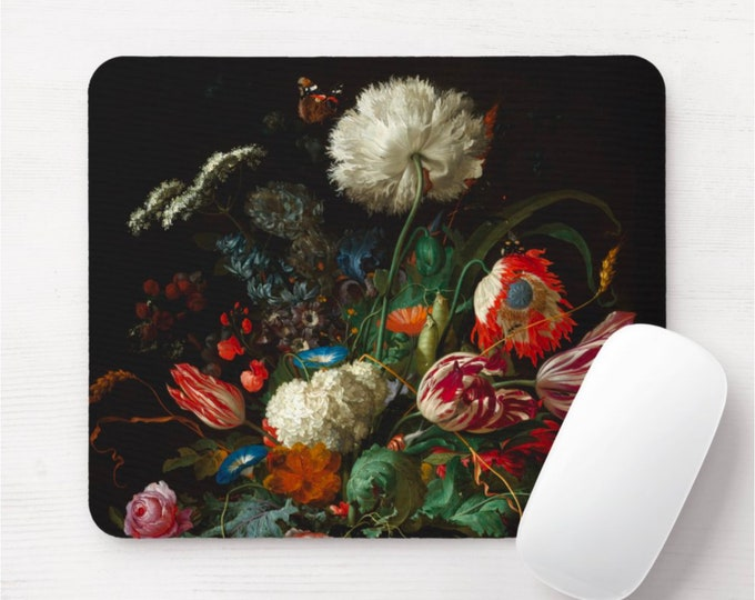 Dutch Floral Mouse Pad/Mousepad, Black/Dark Flowers, Butterfly, Roses, Art Print/Pattern Oil Painting Design, Vintage/Retro Rose Wallpaper