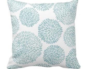 "OUTDOOR Watercolor Chrysanthemum Throw Pillow/Cover, Aqua/White 14, 16, 18, 20, 26"" Sq Pillows/Covers, Blue/Green Modern/Floral/Flower Print"