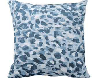 """Spots Print Throw Pillow or Cover, Lake Blue 14, 16, 18, 20, 26"""" Sq Pillows/Covers, Dusty Indigo/Denim Abstract Animal/Leopard/Spot/Pattern"""