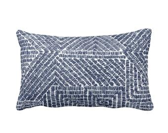 "SALE Tribal Geo Throw Pillow Cover, Navy 14 x 20"" Lumbar Pillow Covers, Dark Blue/White Scratch Geometric/Batik/Boho Pattern/Print"