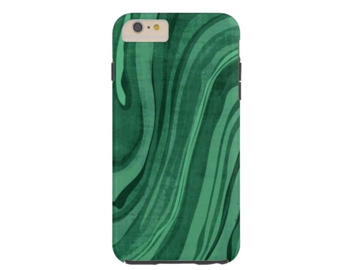 SALE Malachite iPhone XR Tough Protective Cover, Emerald Modern Marble/Marbled Print, Abstract Pattern, Dark Tourmaline Green, Art/Design