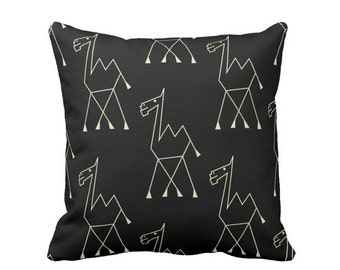 "Camel Print Throw Pillow or Cover, Black/Off-White 16, 18, 20, 26"" Square Pillows or Covers, Modern/Boho/Tribal/African/Design"