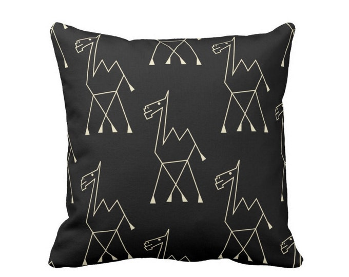 """Camel Print Throw Pillow or Cover, Black/Off-White 16, 18, 20, 26"""" Square Pillows or Covers, Modern/Boho/Tribal/African/Design"""
