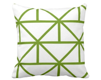 "OUTDOOR - READY 2 SHIP Geometric Throw Pillow Cover, Grass/White 14"" Sq Pillow Covers, Bright Green Modern/Geo/Lines/Stripes/Lattice"