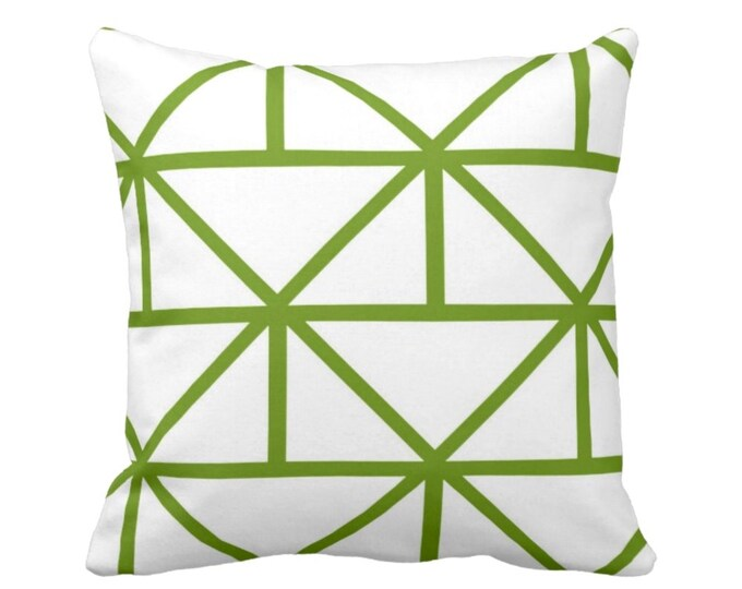 """OUTDOOR - READY 2 SHIP Geometric Throw Pillow Cover, Grass/White 14"""" Sq Pillow Covers, Bright Green Modern/Geo/Lines/Stripes/Lattice"""