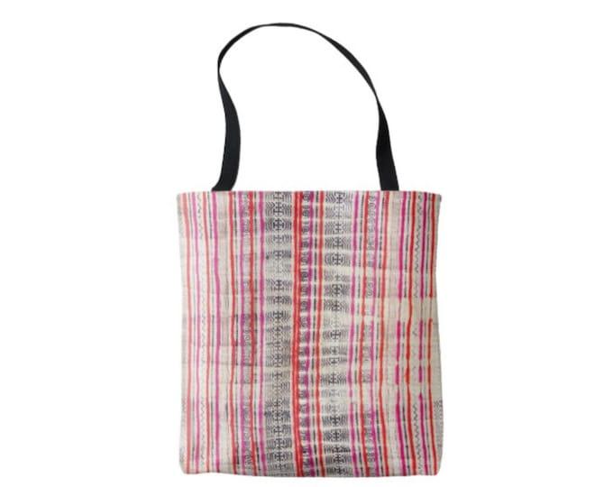Miao Batik Stripe Printed Market Tote, Boho Indigo, Orange & Pink Miao Hill Tribe Print Bag